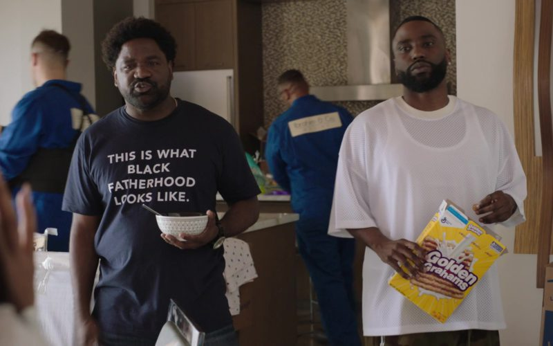 Nestle Golden Grahams Breakfast Cereal Held by John David Washington and Life Storage Boxes in Ballers (1)