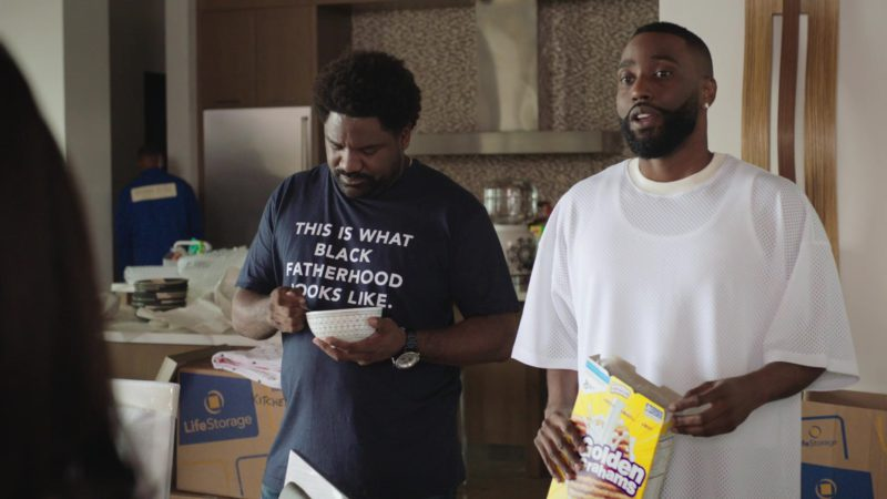 "Nestle Golden Grahams Breakfast Cereal Held by John David Washington and Life Storage Boxes in Ballers: Season 4, Episode 2, ""Don't You Wanna Be Obama?"" (2018) TV Show Product Placement"