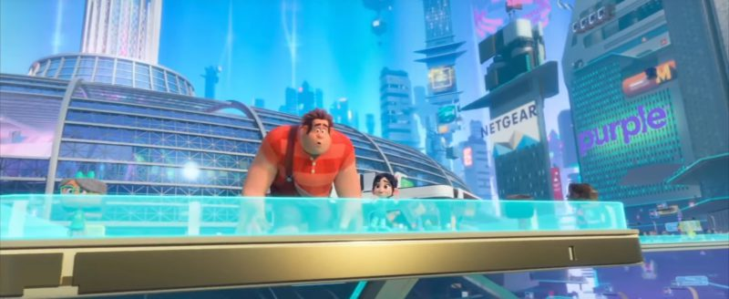 Netgear and Purple Signs in Ralph Breaks the Internet (2018) Animation Movie Product Placement
