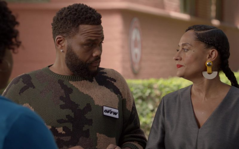 Off-White Military Sweater Worn by Anthony Anderson in Black-ish Season 5 Episode 03 (1)