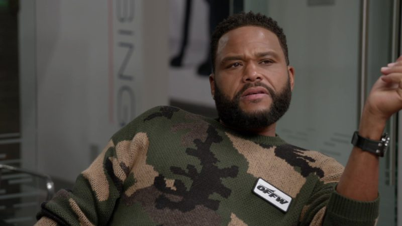"""Off-White Men's Military Sweater Worn by Anthony Anderson in Black-ish Season 5 Episode 03 """"Scarred for Life"""" (2018) - TV Show Product Placement"""