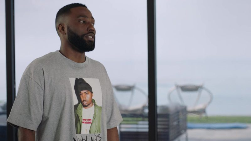 "Supreme Nasty Nas Grey T-Shirt Worn by John David Washington in Ballers: Season 4, Episode 3, ""This Is Not Our World"" (2018) TV Show Product Placement"