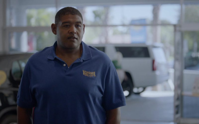 Tropical Chevrolet Blue Polo Shirt Worn by Omar Benson Miller (Charles) in Ballers (1)