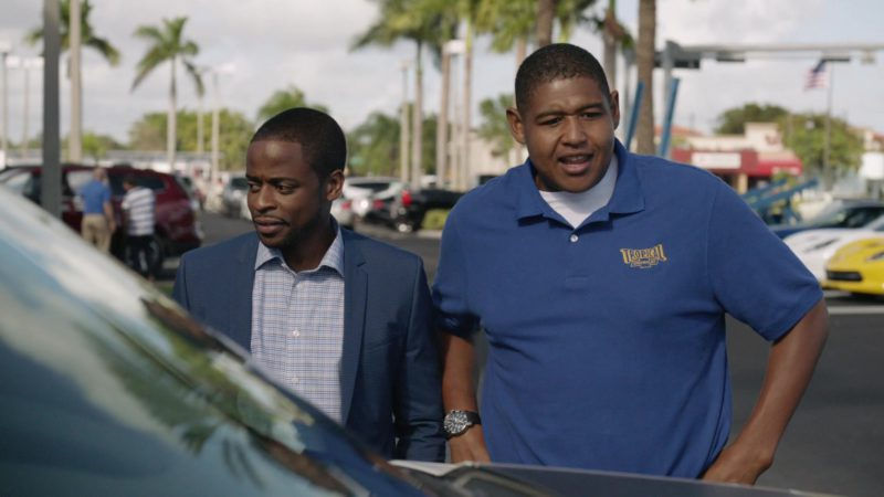 """Tropical Chevrolet Polo Shirt (Dealership in Miami Shores, Florida) Worn by Omar Benson Miller in Ballers: Season 1, Episode 2, """"Raise Up"""" (2015) - TV Show Product Placement"""