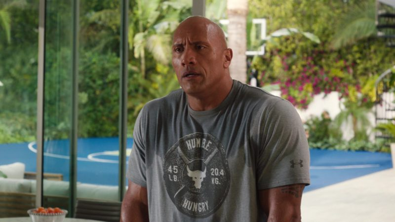 """Under Armour x Project Rock Humble Hungry T-Shirt Worn by Dwayne Johnson in Ballers: Season 3, Episode 1, """"Seeds of Expansion"""" (2017) TV Show Product Placement"""