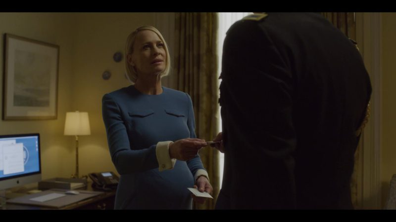 Apple iMac Computer Used by  Pregnant Claire Underwood (Robin Wright) in House of Cards Season 6 Episode 8 Chapter 73 (2018) TV Show Product Placement
