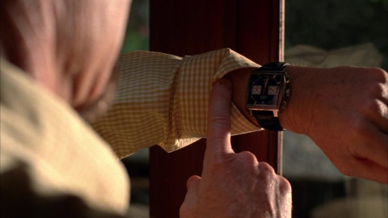 "TAG Heuer Monaco Chronograph Watch Used by Bryan Cranston (Walter White) in Breaking Bad Season 5 Episode 8 ""Gliding Over All"" (2012) TV Show Product Placement"