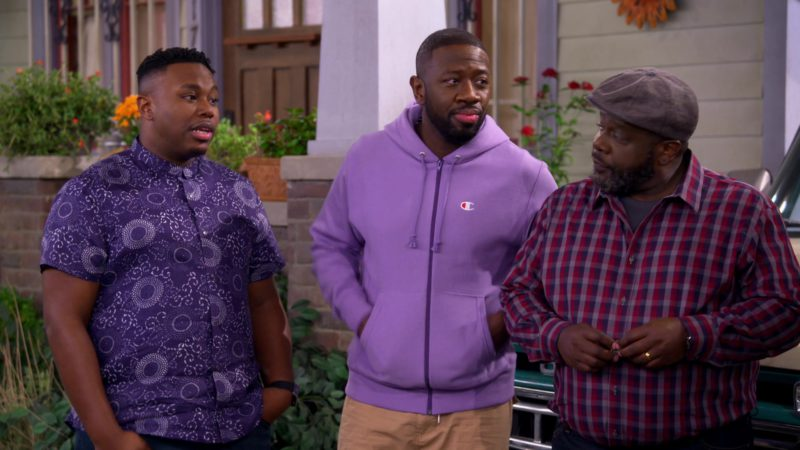Champion Men's Hoodie in The Neighborhood Season 1 Episode 7: Welcome to the Barbershop (2018) - TV Show Product Placement
