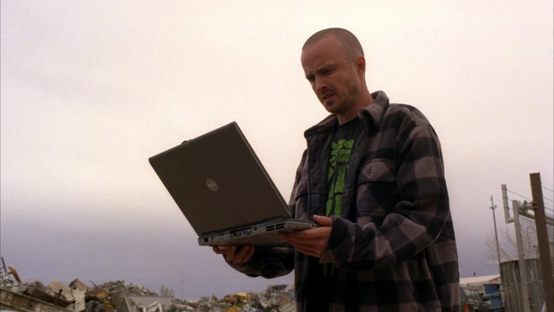 Dell Latitude Laptop Used by Aaron Paul (Jesse Pinkman) in Breaking Bad Season 5 Episode 1: Live Free or Die (2012) - TV Show Product Placement