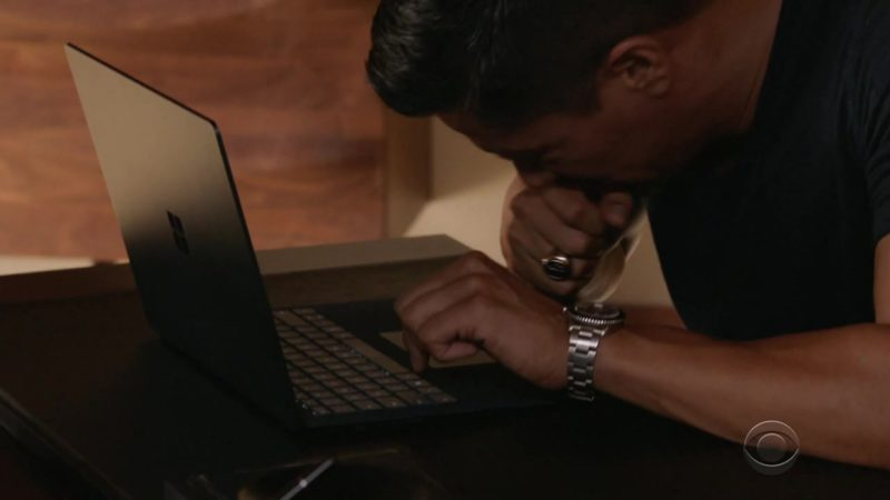 """Microsoft Laptop (Surface) Used by Jay Hernandez (Thomas Magnum) in Magnum P.I.: Season 1, Episode 7 """"The Cat Who Cried Wolf"""" (2018) - TV Show Product Placement"""