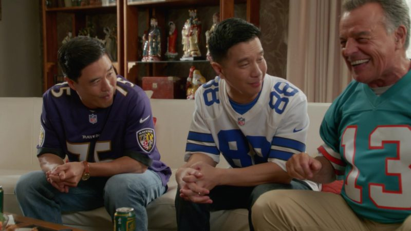 Nike NFL Baltimore Ravens Football Jersey Worn by Randall Park (Louis Huang) in Fresh Off the Boat Season 5 Episode 5: Mo' Chinese Mo' Problems (2018) TV Show Product Placement