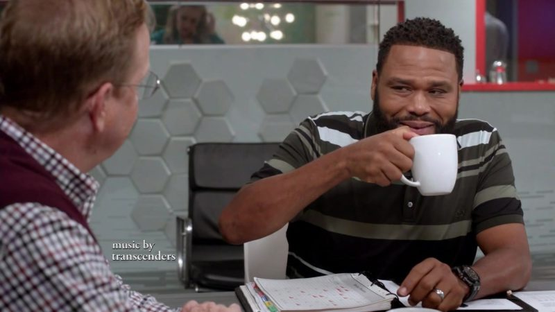 Salvatore Ferragamo Striped Pique Polo Shirt Worn by Anthony Anderson (Dre Johnson) in Black-ish Season 5 Episode 4: Purple Rain (2018) - TV Show Product Placement