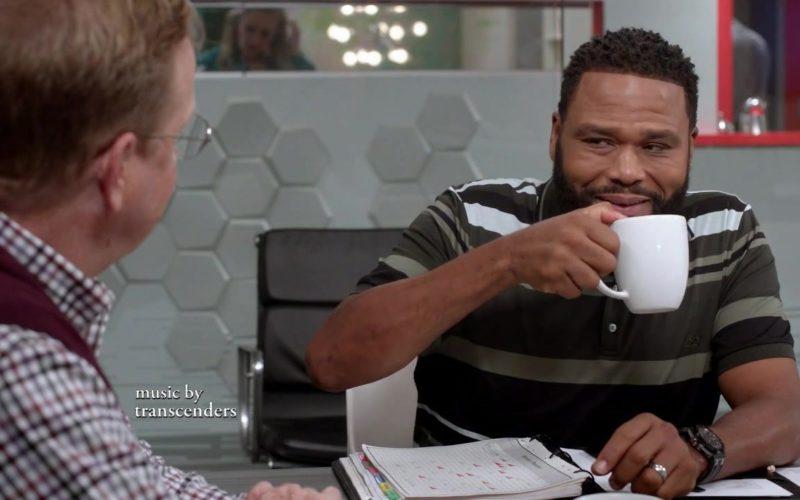 Salvatore Ferragamo Striped Pique Polo Shirt Worn by Anthony Anderson (Dre Johnson) in Black-ish Season 5 Episode (1)