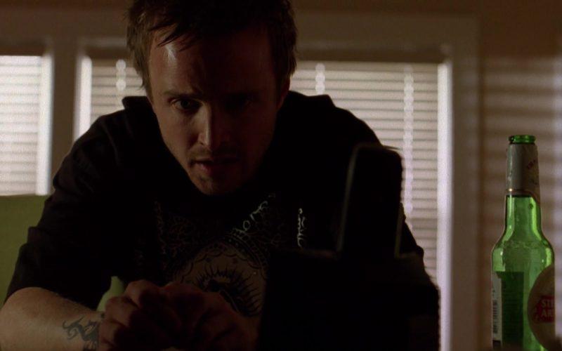 Stella Artois Beer Drunk by Aaron Paul (Jesse Pinkman) in Breaking Bad Season 2 Episode 12