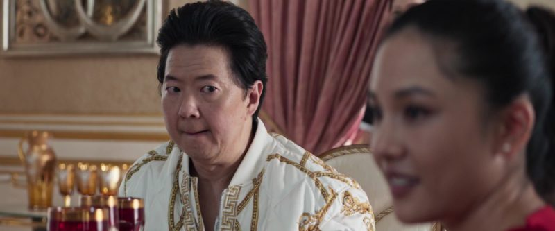 Versace Printed Silk Twill Bomber Jacket Worn by Ken Jeong in Crazy Rich Asians (2018) Movie Product Placement