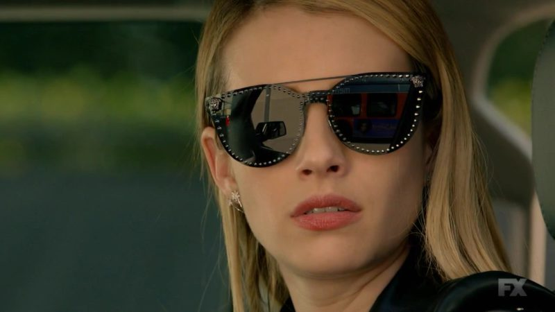 Versace Black Mirror Stud Sunglasses Worn by Emma Roberts (Madison Montgomery) in American Horror Story Season 8 Episode 10: Apocalypse Then (2018) - TV Show Product Placement