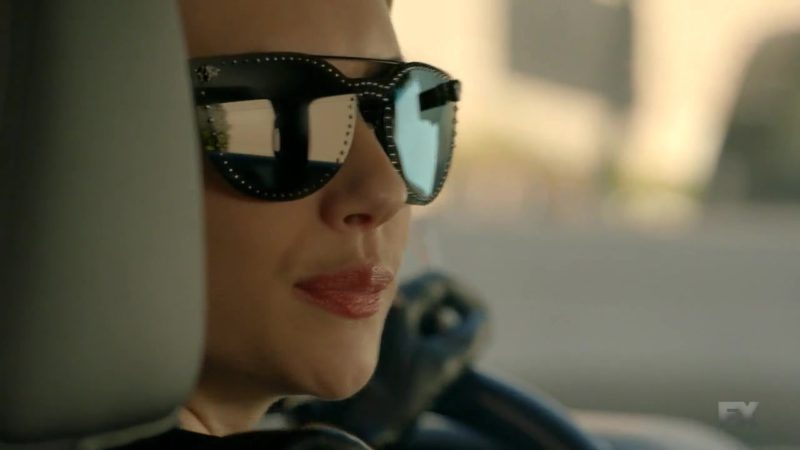 Versace Black Mirror Stud Sunglasses Worn by Emma Roberts (Madison Montgomery) in American Horror Story Season 8 Episode 10: Apocalypse Then (2018) TV Show Product Placement