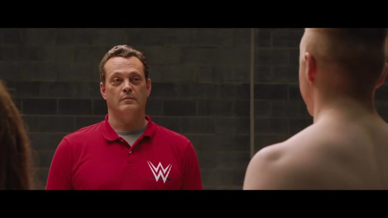 WWE Logo Red Polo Shirt Worn by Vince Vaughn in Fighting with My Family (2019) Movie Product Placement
