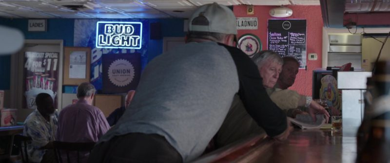 Bud Light Beer Sign in All Square (2018) - Movie Product Placement