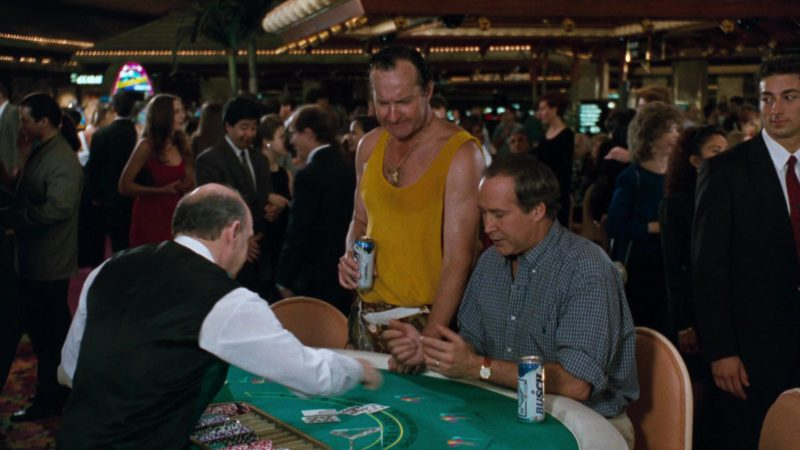 Busch Beer Drunk by Chevy Chase in Vegas Vacation (1997) Movie Product Placement