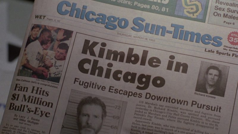 Chicago Sun-Times Newspaper in The Fugitive (1993) Movie Product Placement
