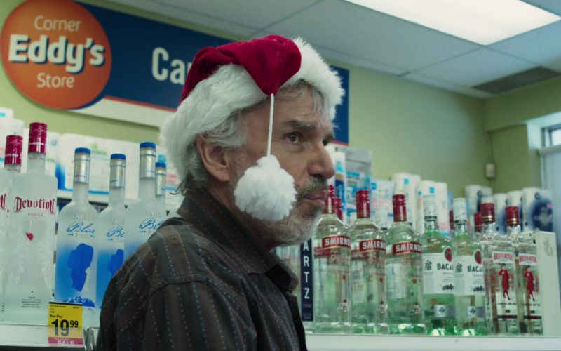 Devotion Vodka, Tahoe Blue Vodka, Smirnoff, Bacardi Rum, Beefeater Gin in Bad Santa 2