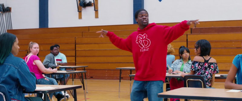 FUBU Red Hoodie Worn by Kevin Hart in Night School (2018) Movie Product Placement