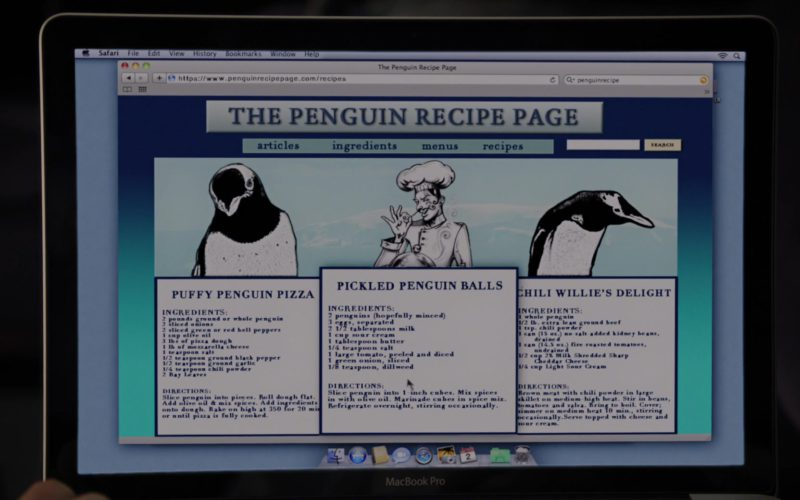 MacBook Pro Laptop and Safari WEB Browser in Mr. Popper's Penguins