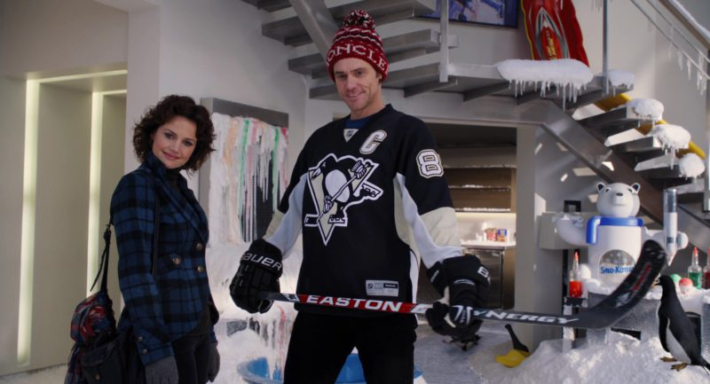 Moncler Hat, Bauer Gloves and Easton Ice Hockey Stick Used by Jim Carrey in Mr. Popper's Penguins (2011) - Movie Product Placement