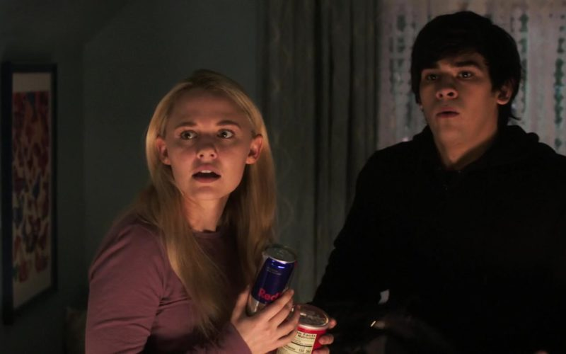 Red Bull Energy Drink Held by Madison Iseman in Goosebumps 2