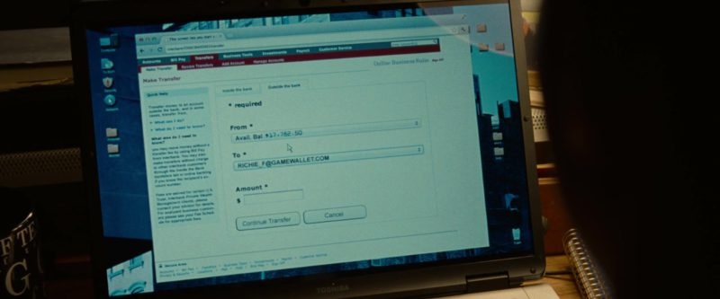 Toshiba Laptop Used by Justin Timberlake in Runner Runner (2013) Movie Product Placement