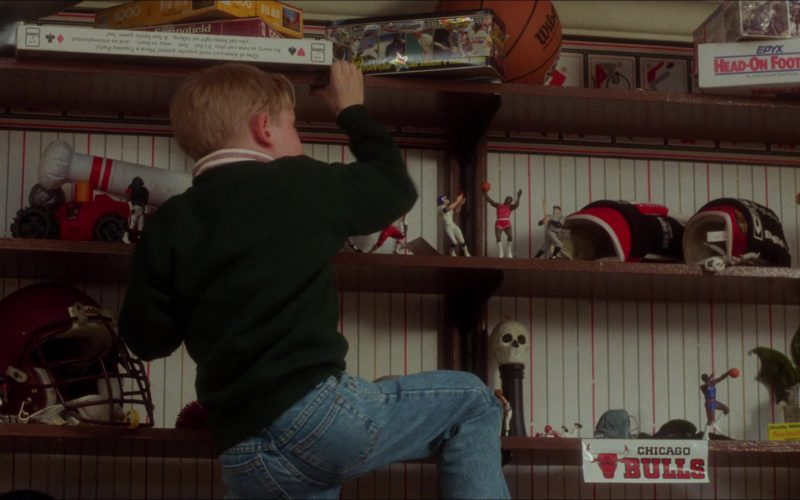 Wilson Basketball, Chicago Bulls Sticker and Epyx Head-On Football Board Game in Home Alone