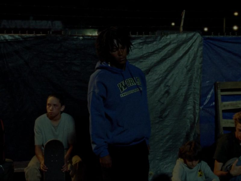 World Industries Blue Hoodie Worn by Na-kel Smith in Mid90s (2018) - Movie Product Placement