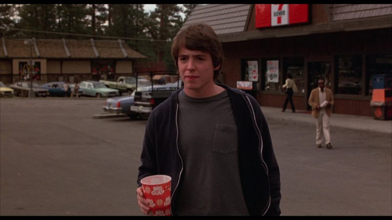 7-Eleven Big Gulp Drink Cup Held by Matthew Broderick in WarGames (1983) Movie Product Placement
