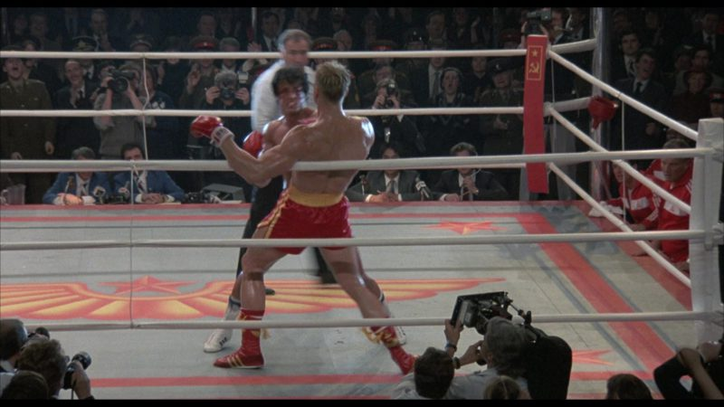 Adidas Boxing Red Shoes Worn by Dolph Lundgren (Captain Ivan Drago) in Rocky 4 (1985) Movie Product Placement