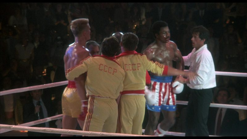 Adidas Yellow Tracksuits Worn by Soviet Union (USSR) Team in Rocky 4 (1985) - Movie Product Placement