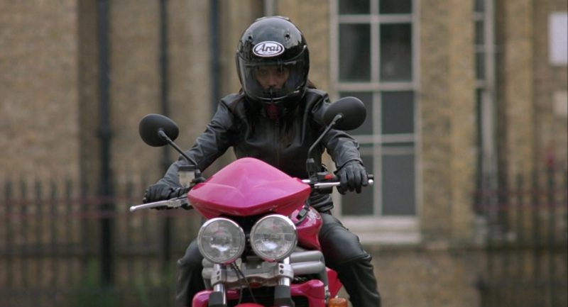 Arai Helmet and Triumph Speed Triple 955i Motorcycle in Johnny English (2003) Movie Product Placement