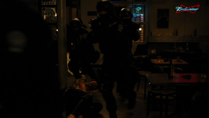 Budweiser Beer Sign in The Dark Knight Rises (2012) - Movie Product Placement