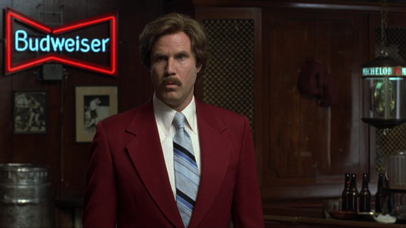 Budweiser and Michelob Beer Signs in Anchorman: The Legend of Ron Burgundy (2004) Movie Product Placement