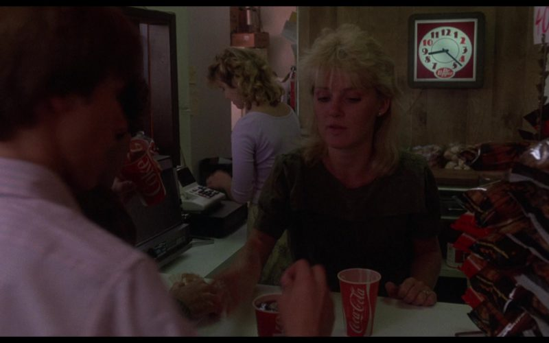Dr Pepper Wall Clock and Coca-Cola Paper Cups in WarGames