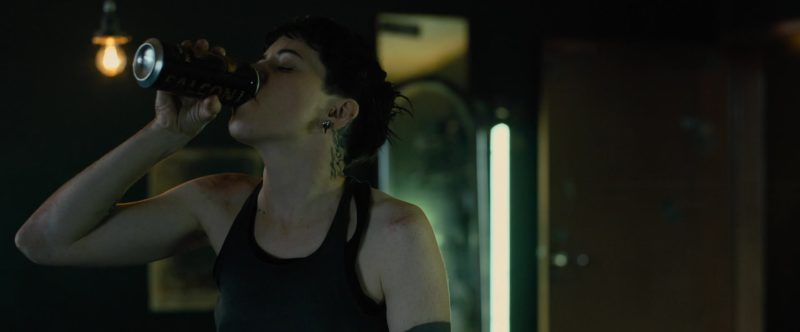 Falcon Beer Drunk by Claire Foy in The Girl in the Spider's Web (2018) - Movie Product Placement