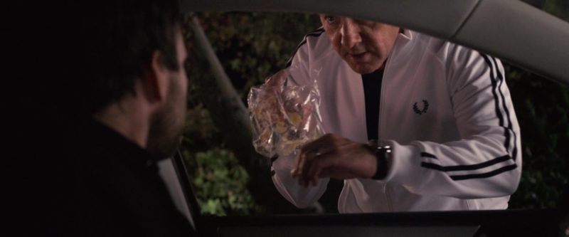 Fred Perry Men's White Track Jacket Worn by Kevin Spacey in Horrible Bosses (2011) Movie Product Placement
