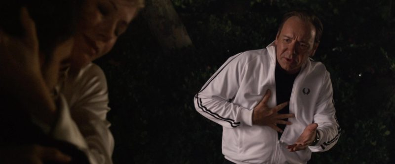 Fred Perry Men's White Track Jacket Worn by Kevin Spacey in Horrible Bosses (2011) - Movie Product Placement