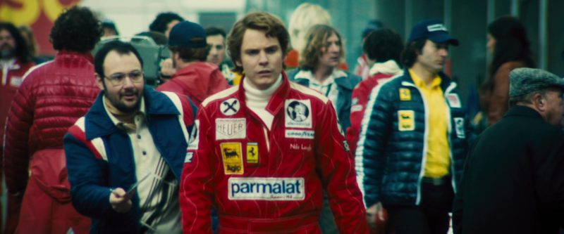 Heuer Chronograph, Agip, Ferrari, Parmalat, Römerquelle, Goodyear in Rush (2013) - Movie Product Placement