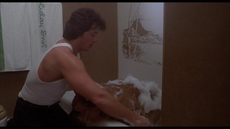 Holiday Inn Hotel Towel in Rocky 2 (1979) - Movie Product Placement