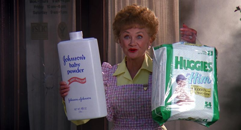 Johnson's Baby Powder and Huggies For Him Held by Estelle Getty in Stop! Or My Mom Will Shoot (1992) Movie Product Placement
