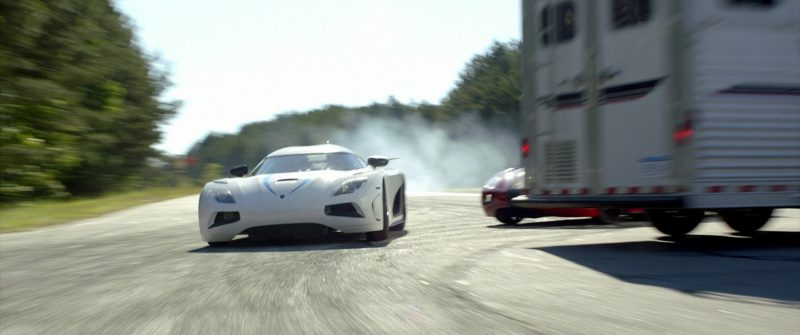 Koenigsegg Agera R White Sports Car Driven by Harrison Gilbertson in Need for Speed (2014) Movie Product Placement