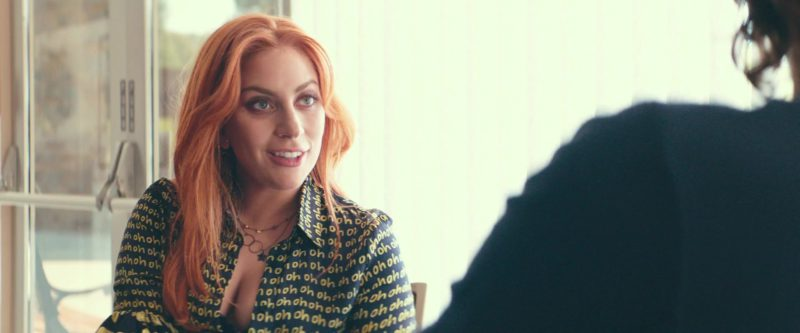 "Maki Oh ""Oh Oh Oh"" Ruffle Sleeve Shirt Worn by Lady Gaga in A Star Is Born (2018) - Movie Product Placement"