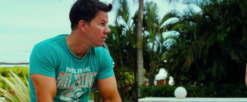 Miami Dolphins American Football Team T-Shirt Worn by Mark Wahlberg in Pain & Gain (2013) Movie Product Placement