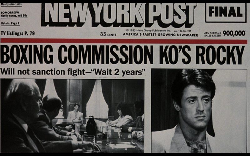 New York Post Newspaper in Rocky 4